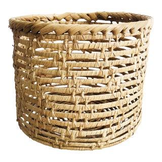 Vintage Cylinder Woven Basket For Sale