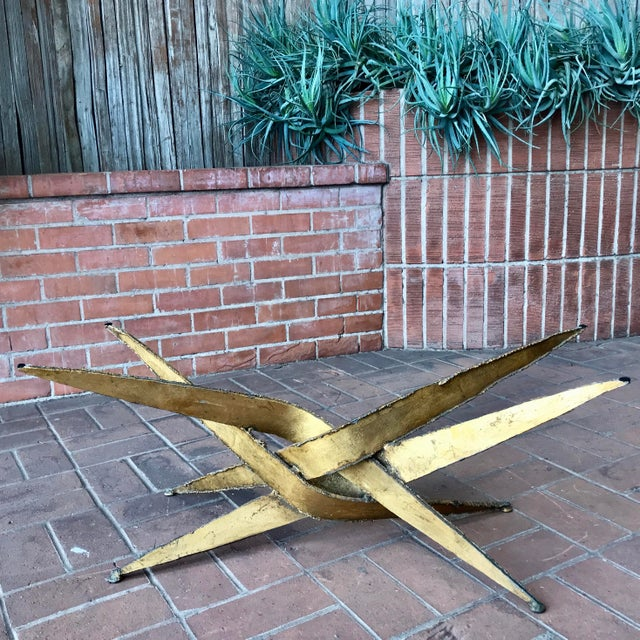 """Creator Silas Seandel Brutalist gold metal + glass coffee table. Vintage from the 1960s. Handcrafted. 60"""" length x 30""""..."""