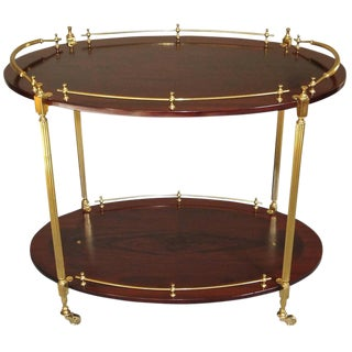 French Wood Mahogany & Brass Bar Tea Cart For Sale