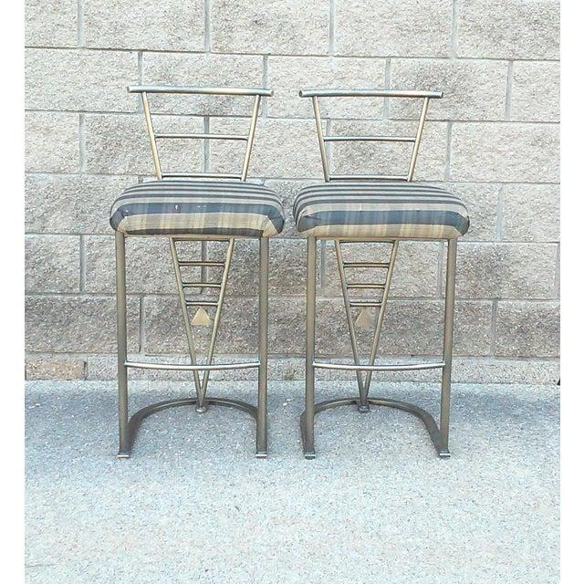 Milo Baughman Bar Stools -- A Pair - Image 4 of 10