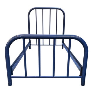 Late 20th Century Twin Size Vintage Style Metal Bed For Sale