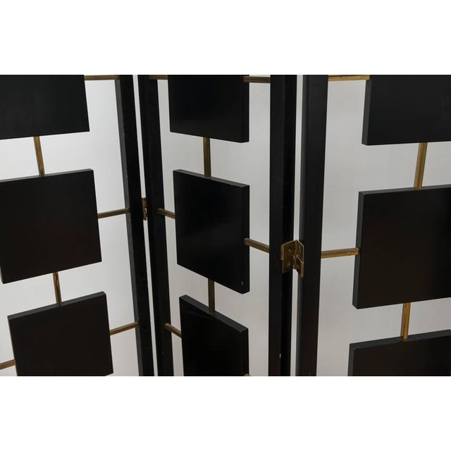 Paint Brass & Black Lacquer Six-Panel Screen For Sale - Image 7 of 11
