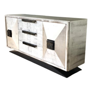 James Mont Style Silverleafed Cabinet Usa 1950s For Sale