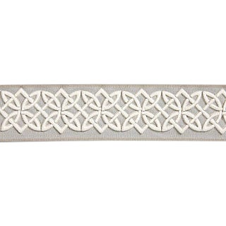 Sample, Scalamandre Celtic Embroidered Tape, Silver Grey Fabric For Sale