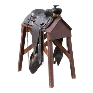 Antique Early 1900's Leather and Metal Accent Horse Saddle For Sale