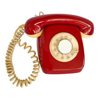 Vintage 1970 Red Brazilian Rotary Telephone Russian Soviet Line