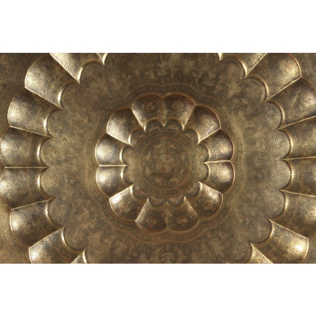 Early 20th Century Monumental Anglo-Indian Brass Hanging Tray Platter For Sale In Los Angeles - Image 6 of 13