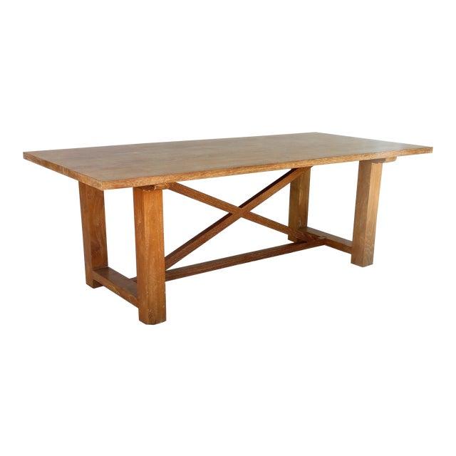 Vintage Pickled Teak Trestle Table For Sale