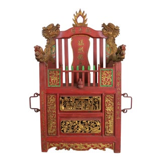 Hand Carved Chinese Buddhist Traveling Sedan Shrine