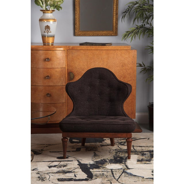 1960s Hollywood Regency Crest-Back Button-Tufted Chair For Sale - Image 12 of 13