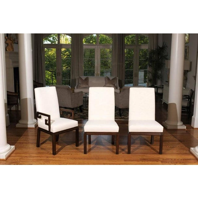 Rare Restored Set of Six Parsons Style Dining Chairs by Baker For Sale - Image 10 of 11
