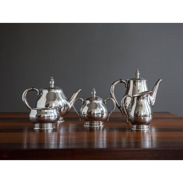 "A five-piece sterling silver coffee and tea service in the ""Royal Danish"" pattern by International Silver, circa 1940s or..."