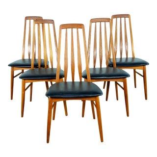 1960's Vintage Koefoed Hornslet Teak Eva Dining Chairs- Set of 5 For Sale
