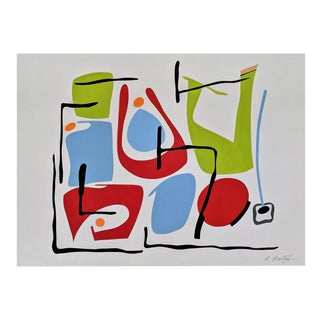 """Atsuko Okamoto Abstract Serigraph A. P. """" Communication"""" Signed on Canvas For Sale"""