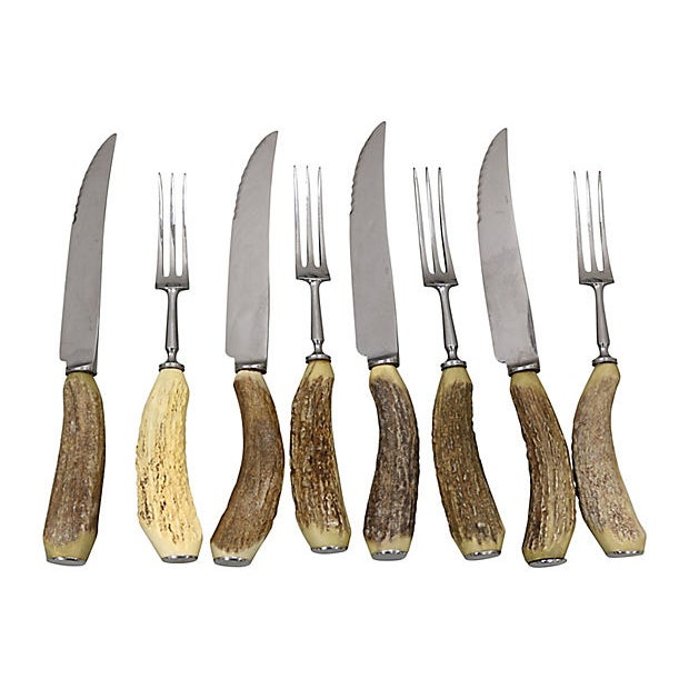 Cottage Stag-Horn Handle Steak Set, Svc for 4 For Sale - Image 3 of 3