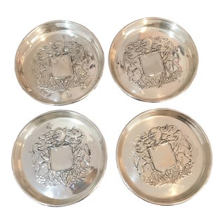1940's Vintage Sterling Silver Armorial Coasters - Set of 4 For Sale
