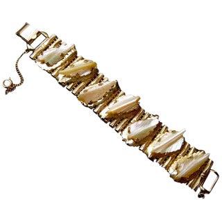 Kafin New York Carved Mother of Pearl Gilt Metal Link Bracelet Circa 1960s For Sale