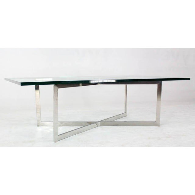 Mid-Century Modern Stainless Chrome X-Base Coffee Table with Glass Top For Sale - Image 4 of 5