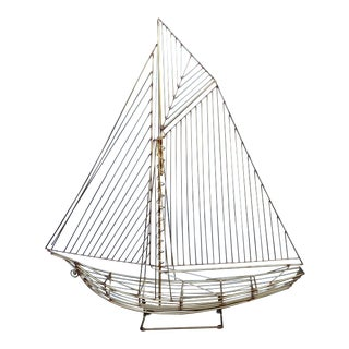 1982 Curtis Jere Free Standing Metal Wire Sailboat Ship Sculpture For Sale