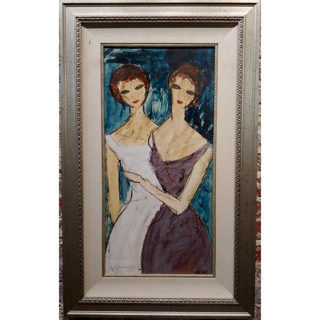 "Abstract Charles Levier ""Two Girlfriends"" Oil Painting C.1960s For Sale - Image 3 of 9"