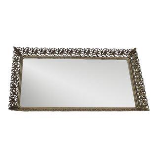 Rectangular Filigree Detail Vanity Mirrored Tray For Sale