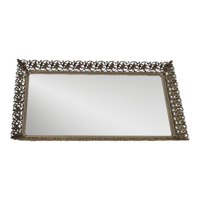 Rectangular Filigree Detail Vanity Mirrored Tray - Image 1 of 5