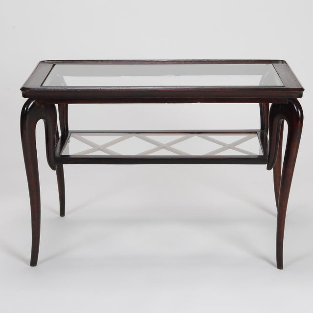 Antique Art Deco Tiered Walnut Glass Side Table - Image 3 of 11