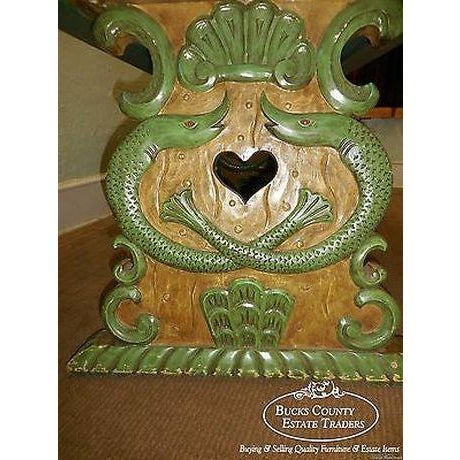 Antique Carved Serpent Base Renaissance Style Painted Splay Leg Dining Table For Sale - Image 4 of 13