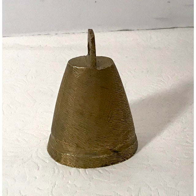 Rustic Vintage Mid Century Brass Bell For Sale - Image 3 of 9