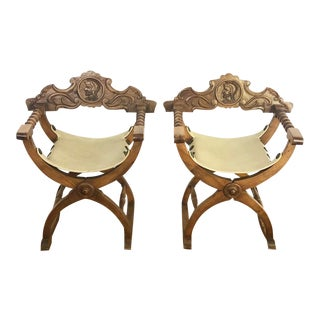 Mid Century Wooden Carved Italian X Form Savonarola Arm Chairs - a Pair For Sale