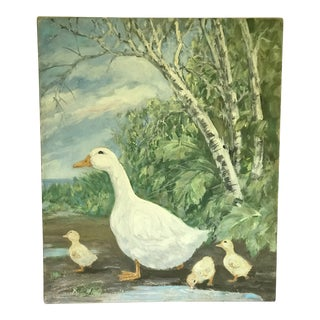 Diana Thorne Duck and Ducklings Original Oil Painting For Sale