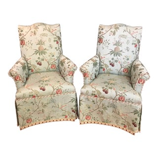 Late 20th Century Upholstered Occasional Armchairs / Host & Hostess Chairs- A Pair For Sale