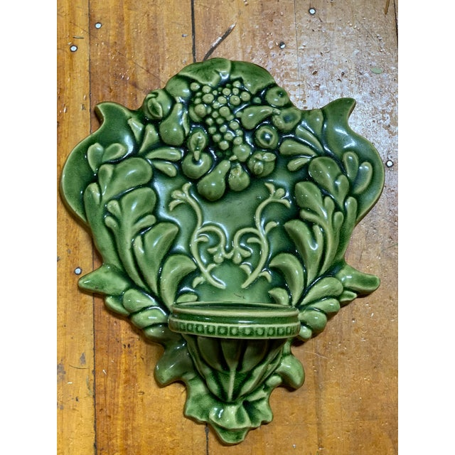 Green Green Majolica Fruit Wall Pockets - a Pair For Sale - Image 8 of 13