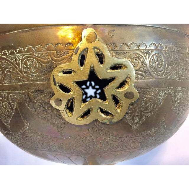 Metal Moroccan Antique Brass Tea Kettle Pot on Stand For Sale - Image 7 of 12
