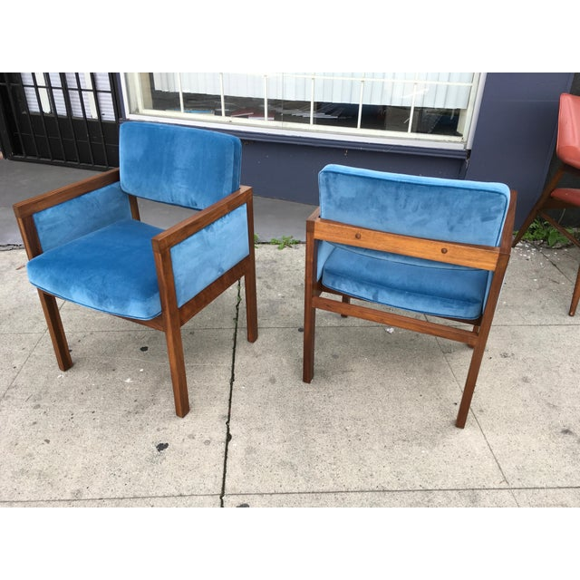 Robert John Robert John Walnut Arm Chairs in Blue Velvet For Sale - Image 4 of 11