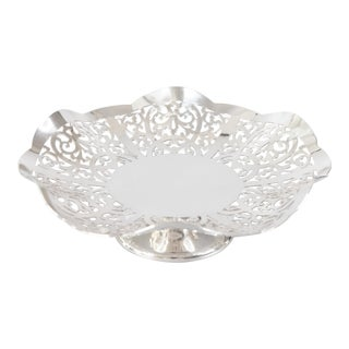 English Mappin & Webb Silver Plate Reticulated Pedestal Dish For Sale