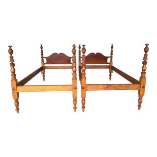 Antique Hand Carved Maple Chippendale Style Twin Poster Beds - a Pair For Sale