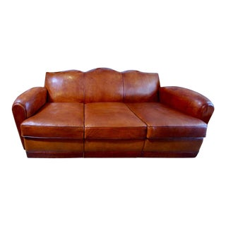 1920s Vintage French Leather Club Sofa For Sale