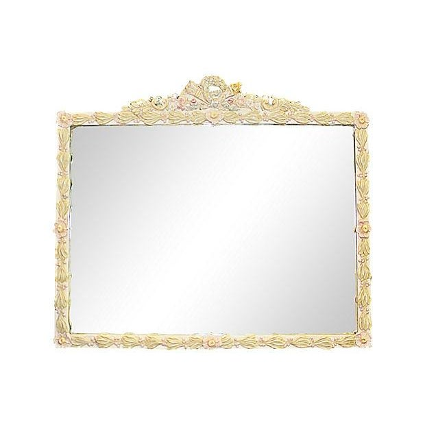 Floral Painted Mirror For Sale