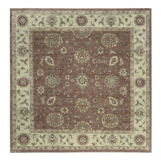 """Traditional Hand Woven Wool Square Rug - 10' X 10'1"""" For Sale"""