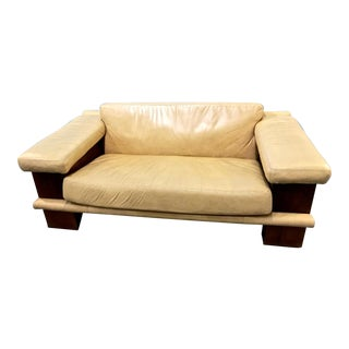 Vintage Leather Sofa C. 1980 For Sale