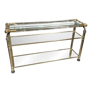 1970s Vintage Italian Lucite & Gilded Metal Mirrored Glass Console For Sale