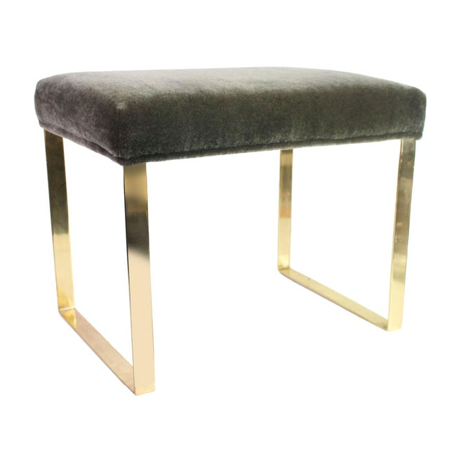 Hollywood Regency Brass & Vintage Sage Green Alpaca Mohair Bench - Large For Sale In Los Angeles - Image 6 of 6