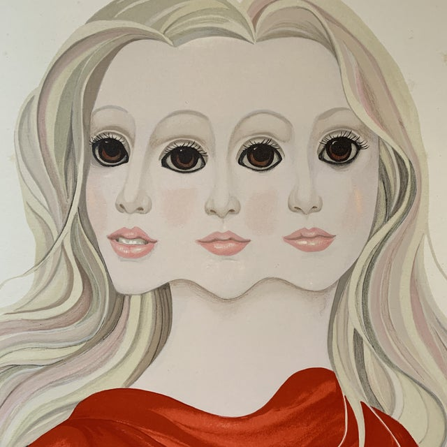 Contemporary 1976 Margaret Keane Signed Lithograph Portrait Print For Sale - Image 3 of 9