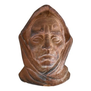 Clay Colored Indigenous Bust Sculpture For Sale