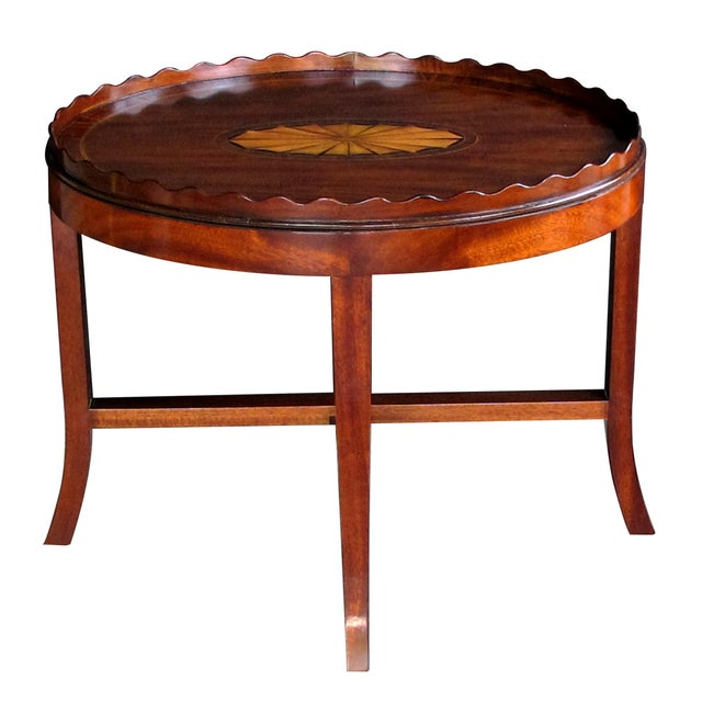 Late 19th Century A Handsome English George III Style Oval Inlaid Tray on Stand For Sale - Image 5 of 5