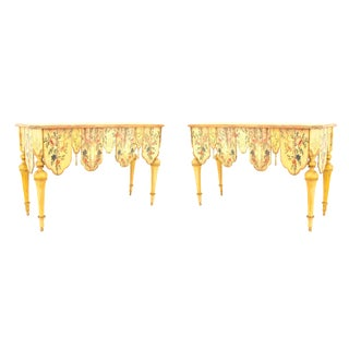 19th Century Italian Painted and Carved Console Tables - a Pair For Sale
