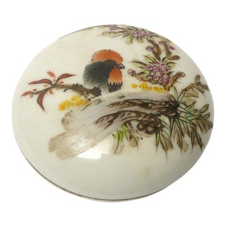 Chinese Porcelain Color Bird Graphic Decor Round Box