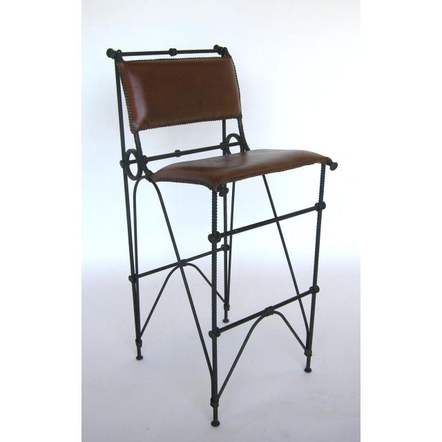Set of Five Illana Goor Iron Bar Stools For Sale In Los Angeles - Image 6 of 11