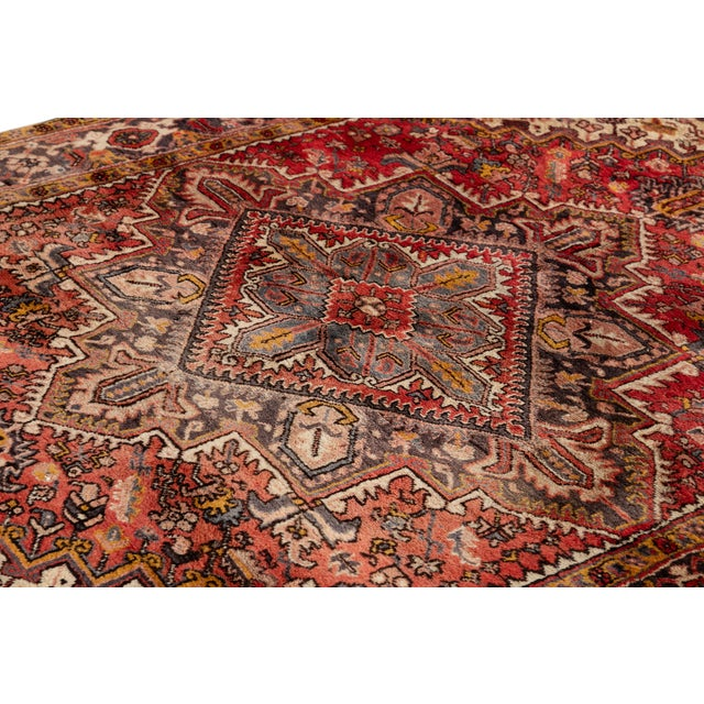 """White Vintage Persian Rug, 6'5"""" X 8'9"""" For Sale - Image 8 of 9"""